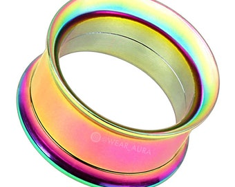 A Pair Of Rainbow Double Flared Screw-Fit Tunnels | Gauges, Body Jewelry IP 316L Surgical Steel
