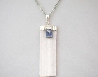 Selenite Pendant Necklace + Kyanite - Silver
