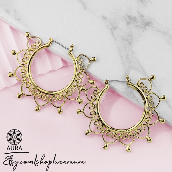 Heart Filigree Hoop Inca Earrings | Rose Gold, Gold, or Silver