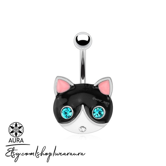 Black + White Cat Face Gemmed Eyes Navel Ring Tuxedo Cat Belly Button Ring Body Jewelry Piercings Non-Dangle Body Jewelry for Her Cat Lovers