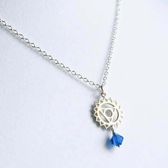 Throat Chakra Symbol Charm Necklace  with Swarovski Crystal Accent
