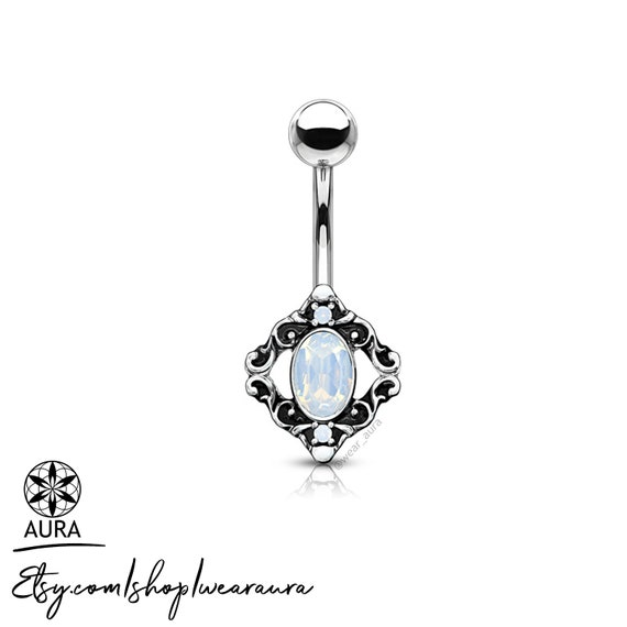 White Opalite Crystal Set in Filigree Antique Silver Bohemian Belly Button Rings Body Jewelry Navel Piercing