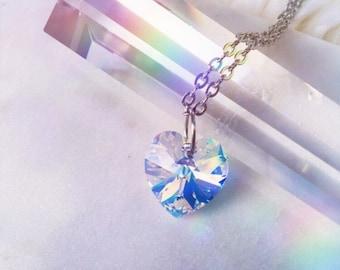 "Swarovski Crystal Heart Necklace   Aurora Borealis Xilion   18mm Pendant   18"" Stainless Steel Cable Chain   Genuine Swarovski Crystal"
