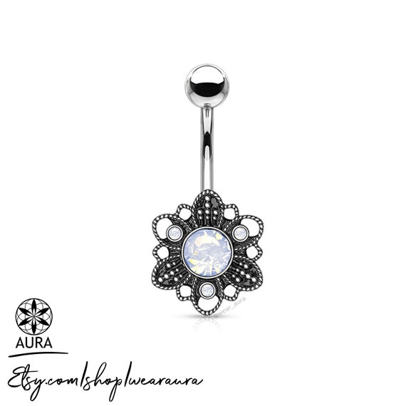 White Opalite Crystal Set in Antique Silver Flower Bohemian Belly Button Rings Body Jewelry Navel Piercing