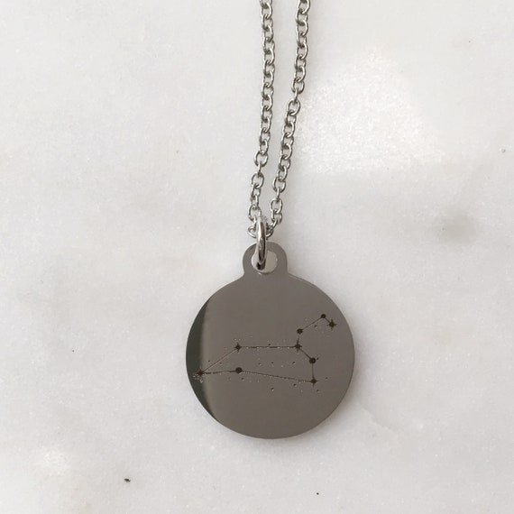 Zodiac Constellation Leo Stainless Steel Charm Necklace | Stars + Celestial Jewelry