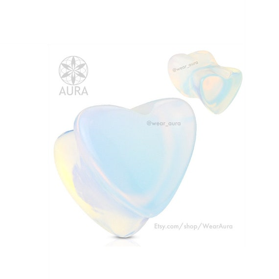 Iridescent Opalite Heart Shaped Natural Stone Saddle Plug