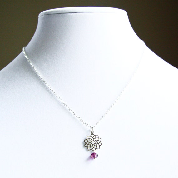 Crown Chakra Symbol Charm Necklace with Swarovski Crystal Accent