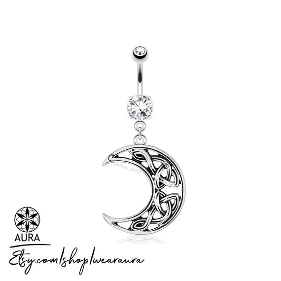 Celtic Crescent Moon with Crystal Dangle Belly Button Ring Navel Piercing Jewelry