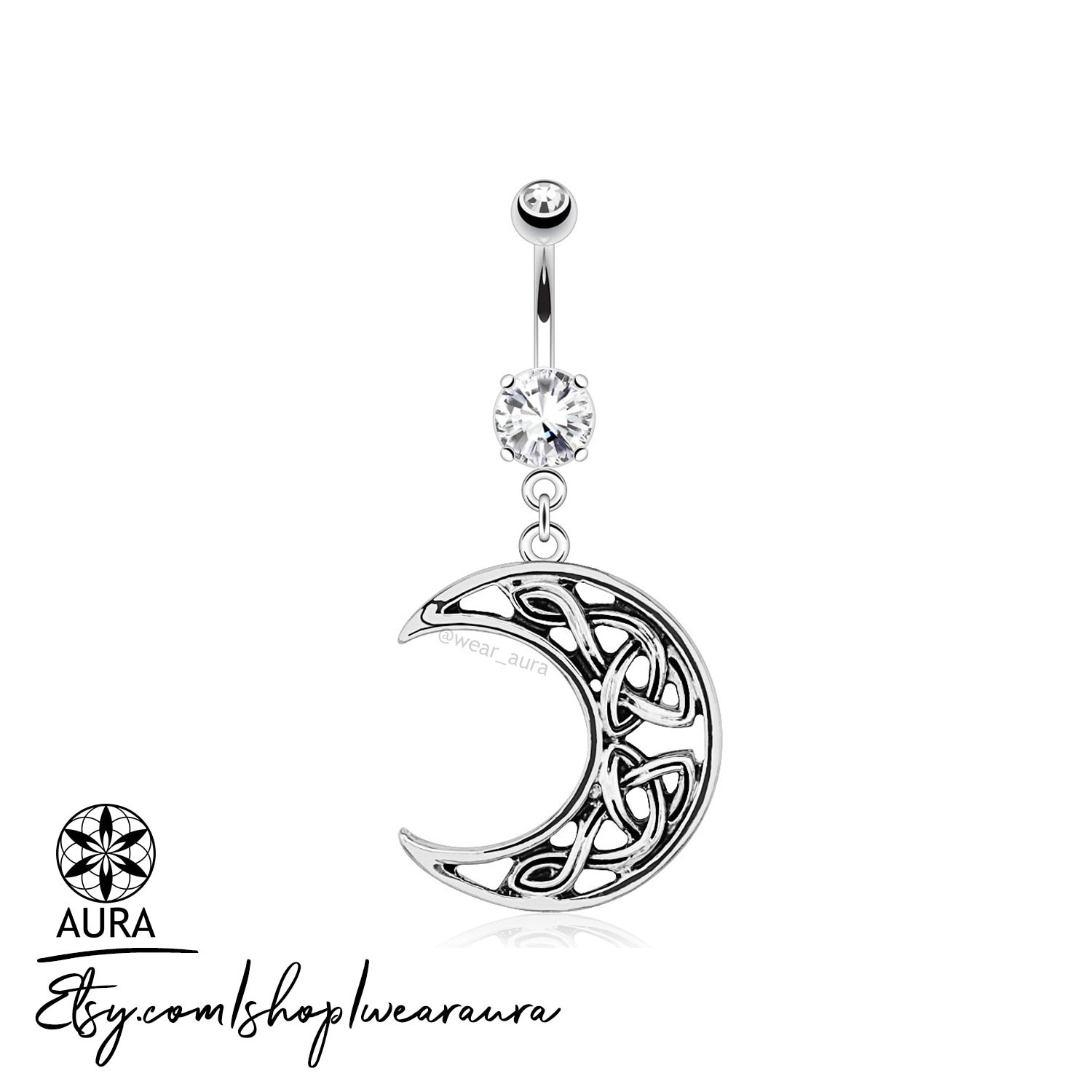 Celtic Crescent Moon With Crystal Dangle Belly Button Ring Navel
