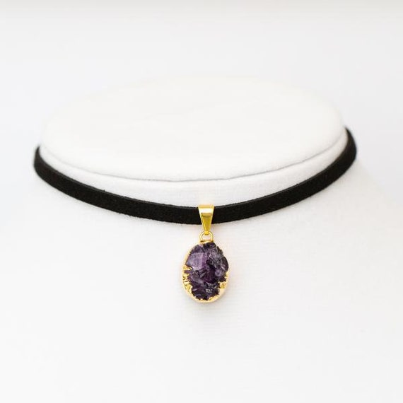 Amethyst Druzy Choker Necklace - Petite Jewelry