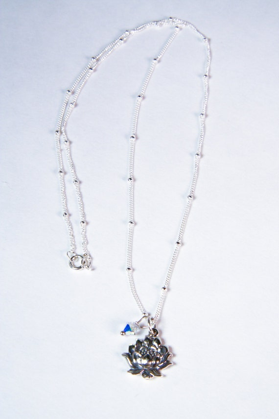 Lotus Flower Sterling Silver Charm Necklace  with Swarovski Crystal Accent