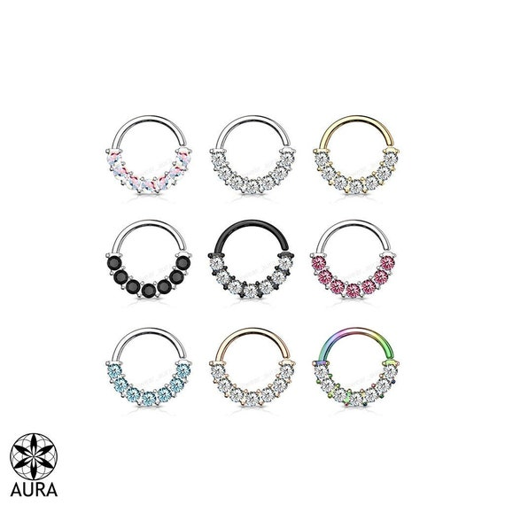 Crystal 7 Gem Front Facing Bendable Hoop  Rings for Ear Cartilage, Daith, Nose Septum, and more!| 316L Surgical Steel |