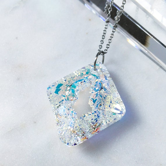 Aurora Borealis Iridescent Crystal Pendant Necklace * Faceted Rhombus shape! In stock or Made to Order.