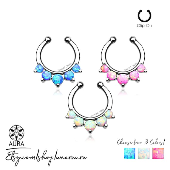 Opal Paved 5 Stone Round Septum Non-Piercing Body Jewelry 316L Surgical Steel For Her 16GA Tribal Summer Festival Boho Crystal Jewelry