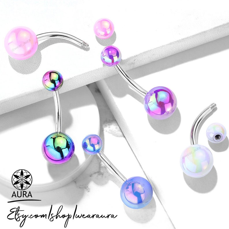 Iridescent Metallic Ab Coated Belly Ring 14ga Body Jewelry 316l Surgical Steel Navel Ring Piercings