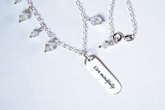 Live Mindfully Charm Iridescent Crystal +  Sterling Silver Necklace