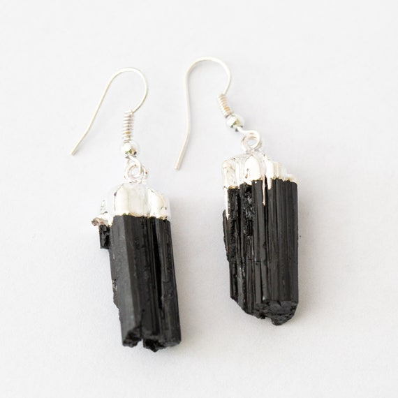 Raw Black Tourmaline Dangle Earrings Choose Silver or Gold