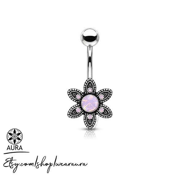 Pink Opalite Stone Set in Antique Silver Gem Paved Flower Bohemian Belly Button Rings Body Jewelry Navel Piercing