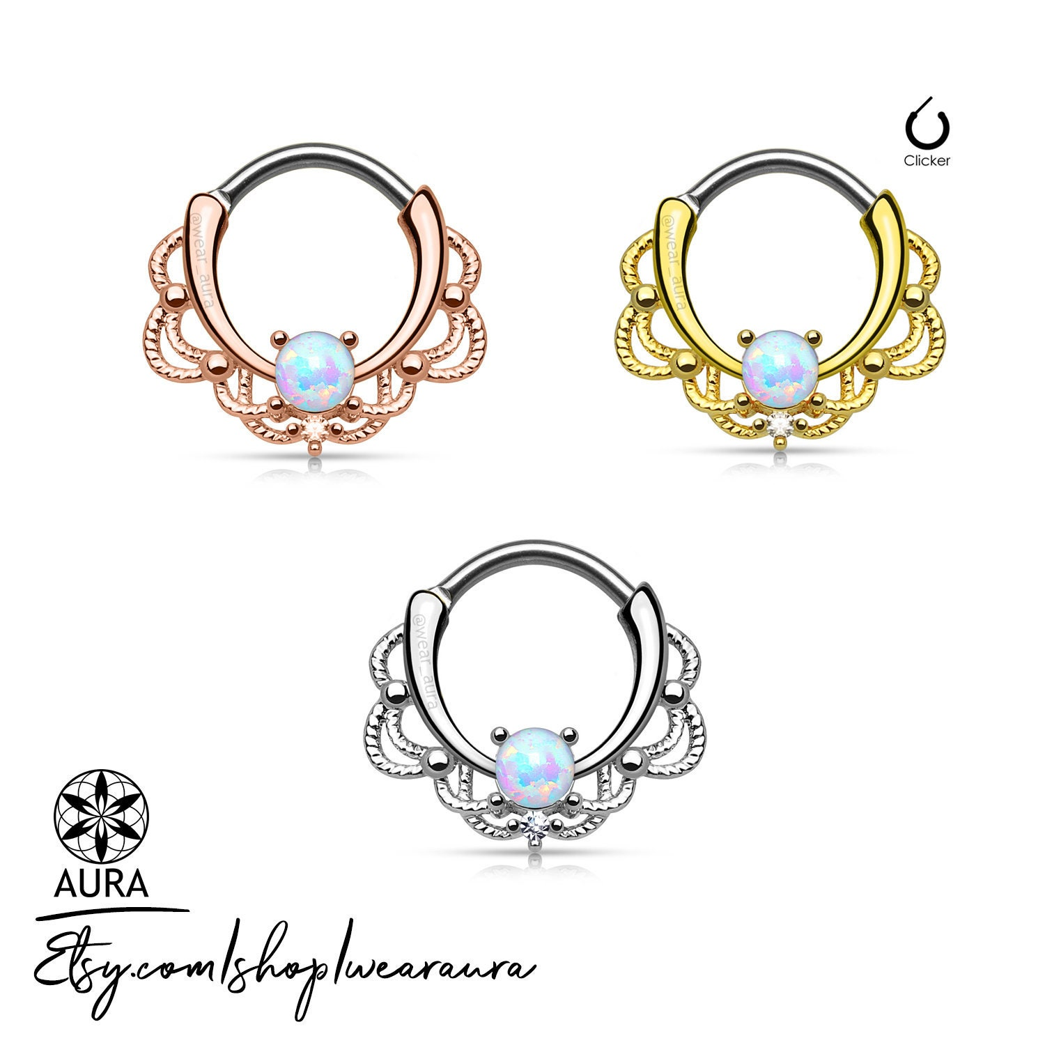 Opal Stone And Lace Style Round Septum Hanger Clicker Rook