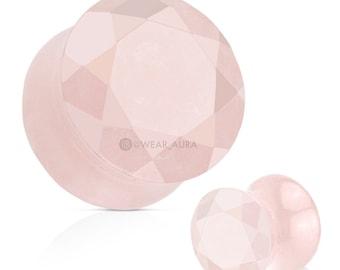 A Pair of Rose Quartz Plugs Semi Precious Stone Faceted Gem Cut Double Flared