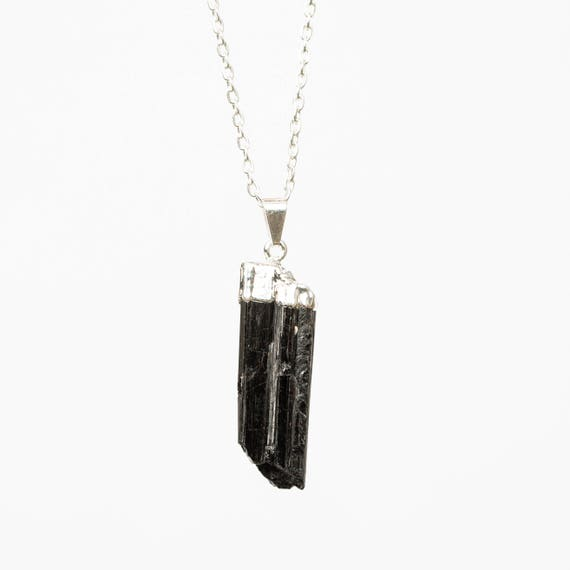 Raw Black Tourmaline Pendant Necklace - silver