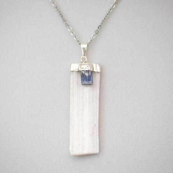 Selenite Pendant Necklace + Kyanite - Silver