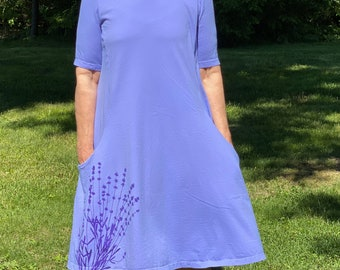 XL Cotton Elbow Sleeve Pocket Dress with Lavender