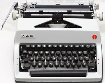Olympia SM9 Cursive Script Manual Portable Typewriter + Original Case & Fresh New Ribbon Made in Germany 1970s