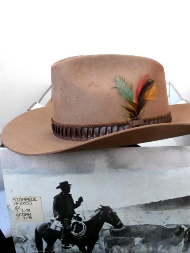 776310a96f10f Vtg Stetson Beaver Felt Stampede Hat Unisex Acorn XXX Size 7