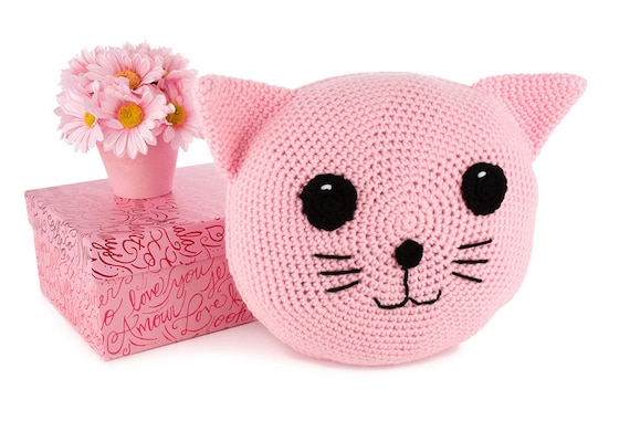 Crochet Pattern Pink Cat Pillow Amigurumi Stuffed Animal Etsy