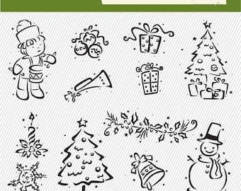 Christmas Clipart. Little Drum Boy Clipart. Christmas Tree, Christmas Gift, Snowman.. Digital Images. Christmas Illustration 255