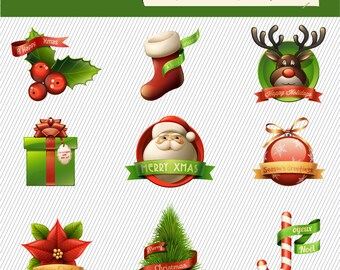 Christmas Clipart. Christmas Digital Clipart. Christmas Tree, Christmas Gift, Santa Claus...Digital Images. Christmas Illustration 218