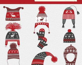 Christmas Clipart. Winter Hats Clipart. Knitting Hat Images. Christmas Digital Images. 121