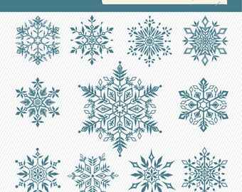 Snowflakes Clipart. Christmas Digital Clipart. Snowflakes Digital Images. Christmas Illustration 118