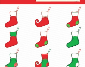 Christmas Stocking Clipart. Christmas  Clipart. Christmas Digital Images. 049