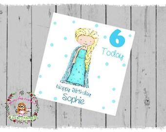 Frozen Inspired Elsa Personalised Birthday Card