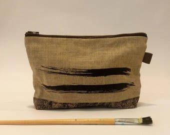 Natural Linen Bag, Linen Clutch Bag, Boho Wristlet, Casual Print Clutch Bag, Personalize Zippered cosmetic pouch, Zippered Clutch Bag