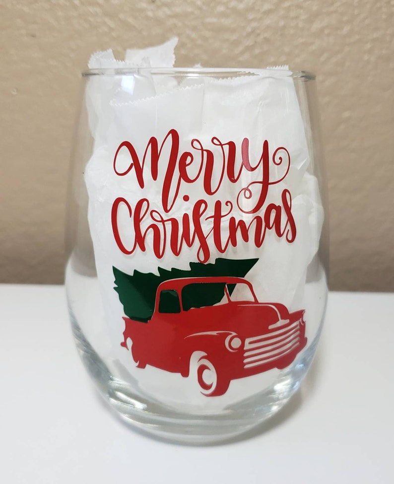 Red Truck Merry Christmas Wine Glass Personalized Christmas image 0