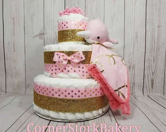 Narwhal Diaper Cake, Pink Baby Gift, Nautical Diaper Cake, Pink Nautical Centerpiece, Pink Diaper Cake, Girls Baby Shower, Baby Shower Gift