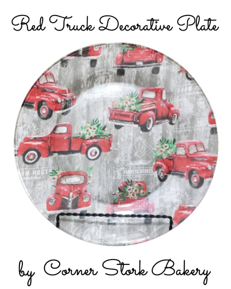 Red Truck Christmas Plate Red Truck Glass Plate Decorative image 0