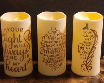 Flameless Led Memorial Candles, Memorial Led Pillar Candle, Memorial Candle