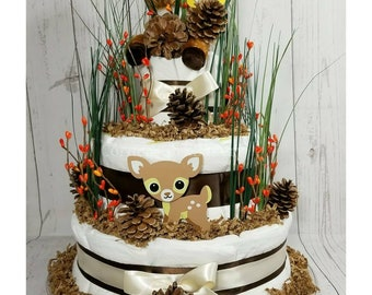 Hello Deer Diaper Cake, Baby Shower Diaper Cake, Baby Shower Centerpiece, Baby Gift, Forest Baby Shower, Outdoors, Nature Baby Gifts, Deer