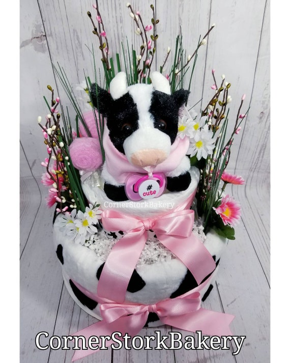 Cow Diaper Cake Cow Baby Gift Diaper Cake Baby Gift Baby Etsy