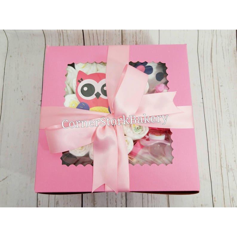 Pink Owl Diaper Cake image 0
