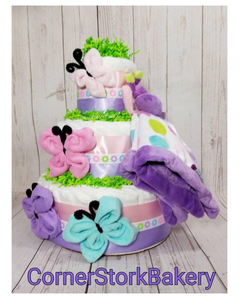 Butterfly Diaper Cake Girls Diaper Cake Baby Shower image 0