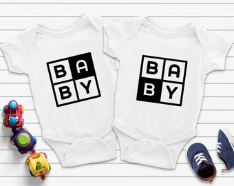 Baby A And Baby B  Matching Bodysuits, Baby A & B Twin Bodysuits, Twins Baby Gift, Twins Gift, Twin A /B Baby Bodysuits, Baby
