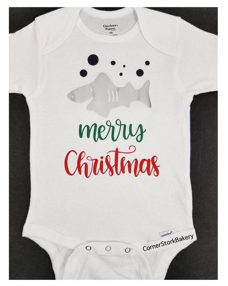 Christmas Bodysuit Baby Shark Baby Bodysuit Baby Gift Baby image 0