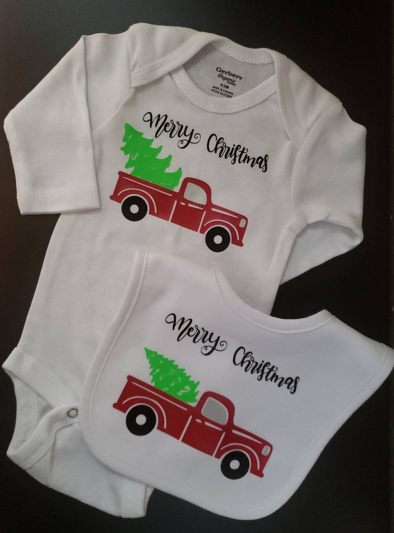 Red Truck Baby Bodysuit And Matching Bib Baby Gift Red Truck image 0
