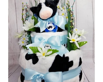 Cow Diaper Cake, Cow Baby Gift, Diaper Cake, Baby Gift, Baby Shower Centerpiece, Baby Boy Gift, Farm Animal Diaper Cake, Centerpiece, Gift