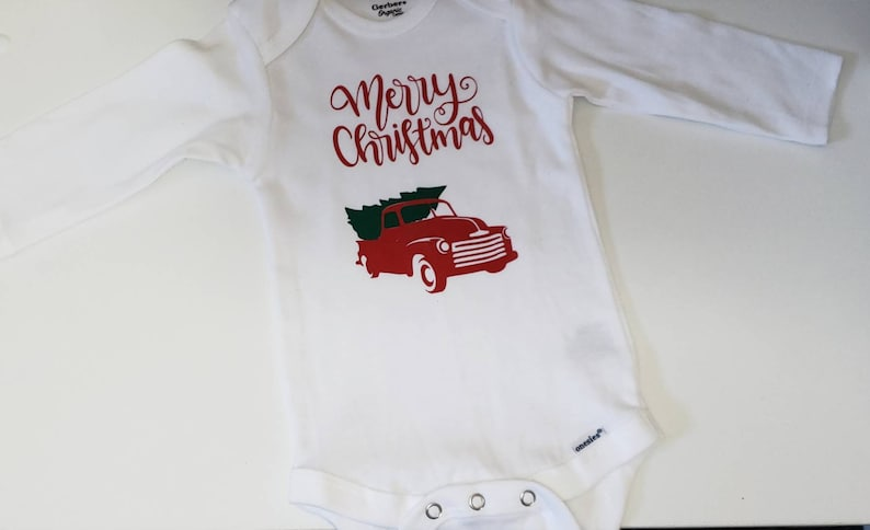 Christmas Bodysuit Red Truck Bodysuit Baby Red Truck Merry image 0